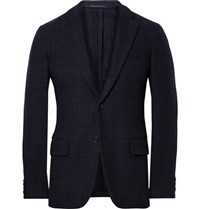 Massimo Piombo Mp Blue Slim Fit Checked Wool Blend Blazer Navy