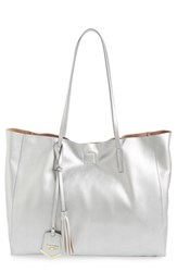 Poverty Flats By Rian 'Colorful' Faux Leather Shopper Grey Silver