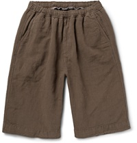 Our Legacy Linen And Cotton Blend Shorts Green