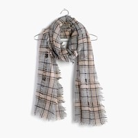 Madewell Openweave Scarf In Ennis Plaid Pale Thistle