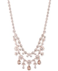 Givenchy Rose Gold Tone Double Layer Crystal Statement Necklace Pink