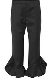 Goen J Ruffle Trimmed Wool Flared Pants Black