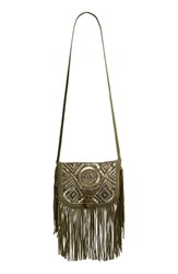 Big Buddha Fringe And Bead Embellished Crossbody Bag Green Olive