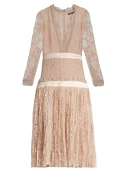 Alexander Mcqueen Long Sleeved Plunging Embroidered Tulle Dress Light Pink