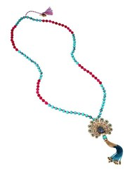 Betsey Johnson Peacock Tassel Pendant Necklace Blue