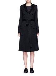Maiyet Tie Waist Cashmere Knit Trench Coat Black