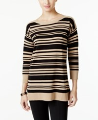 Cable And Gauge Striped Sweater Only At Macy's Black Stripe Camel Hair