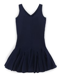 Ralph Lauren Childrenswear Sleeveless Silk Fit And Flare Dress Aviator Navy Size 2T 6X Girl's Size 2T
