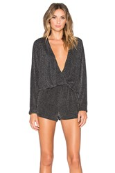 Endless Rose Shimmer Wrap Romper Black