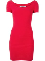T By Alexander Wang Ribbed Fitted Dress Red