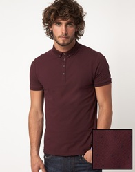 Asos Polo With All Over Polka Dot Burgundy