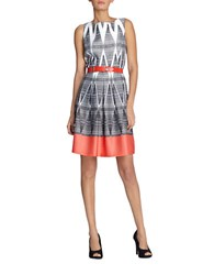 Tahari By Arthur S. Levine Mixed Pattern Fit And Flare Dress White Black Coral
