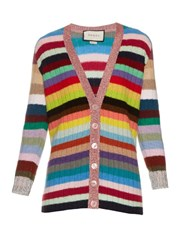 Gucci Rainbow Stripes Cashmere And Wool Blend Cardigan Multi