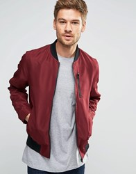 Asos Bomber Jacket With Zip Chest Pocket In Burgundy Burgundy Red