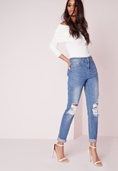 Missguided High Rise Ripped Knee Slim Leg Stonewash Blue Blue