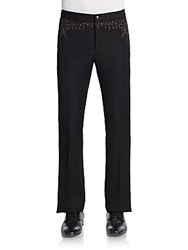 John Varvatos Embroidered Linen And Wool Pants Black