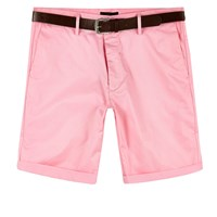 River Island Mens Pink Belted Oxford Shorts
