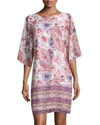 Neiman Marcus Half Sleeve Paisley Print Shift Dress Pink Multi