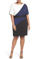 Ellen Tracy Plus Size Women's Colorblock Ponte Sheath Dress