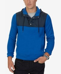 Nautica Men's Big And Tall Colorblocked Quarter Snap Hoodie True Blue