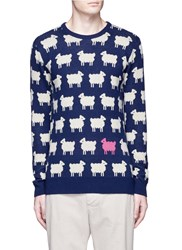 Scotch And Soda Sheep Intarsia Wool Blend Sweater Multi Colour