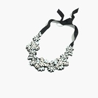 J.Crew Fabric Backed Crystal Cluster Necklace Black