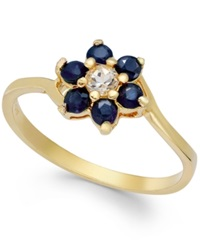 Victoria Townsend Sapphire 9 10 Ct. T.W. And White Topaz 1 10 Ct. T.W. Flower Ring In 18K Gold Over Sterling Silver