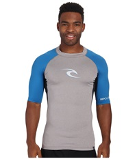 Rip Curl Wave Short Sleeve Rashguard Frost Grey Heather Men's Swimwear Gray