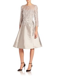 Rickie Freeman For Teri Jon Embellished Illusion A Line Dress Silver