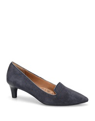 Sofft Vesper Suede Kitten Heel Loafers Winter Blue