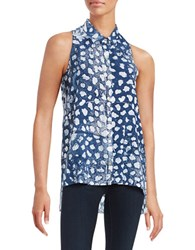 Red Haute Printed Sleeveless Shirt Navy