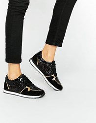 Aldo Onelian Glitter Runner Trainer Black Multi