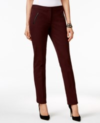 Alfani Faux Leather Trim Slim Leg Pants Only At Macy's New Wine