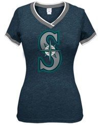 5Th And Ocean Women's Seattle Mariners Triple Flock T Shirt Navy