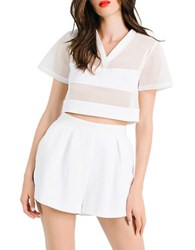 Kendall Kylie Boxy Mesh Crop Top White