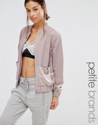 Missguided Petite Two Tone Satin Bomber Jacket Lilac Ash Purple