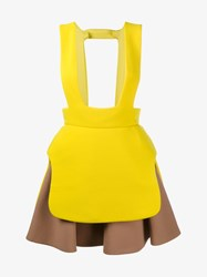Delpozo Sleeveless Virgin Wool Pinafore Yellow Multi Coloured Brown Beige