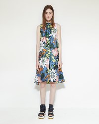 Marni Silk Floral Dress Iris Blue