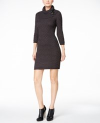 Calvin Klein Buckled Cowl Neck Sweater Dress Charcoal