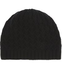 Johnstons Textured Ribbed Cashmere Beanie Black