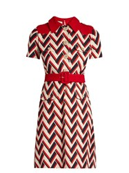 Gucci Chevron Print Wool And Silk Blend Dress Red Multi