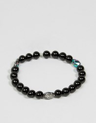 Simon Carter Onyx Beaded Bracelet With Swarovski Crystal Exclusive To Asos Black