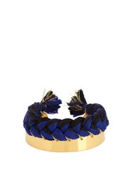 Aurelie Bidermann Copacabana Gold Plated Wide Cuff Navy