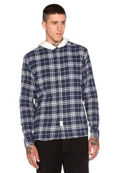 10.Deep Work Hooded Flannel Blue