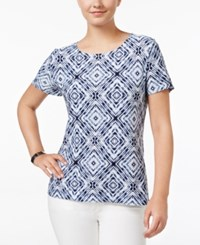 Jm Collection Printed Jacquard Top Only At Macy's Blue Tiedye