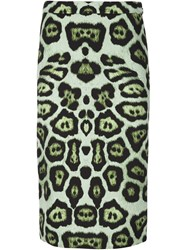 Givenchy Leopard Print Pencil Skirt Green