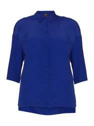 Persona Plus Size Baleno 3 4 Sleeved Loose Fit Shirt Blue