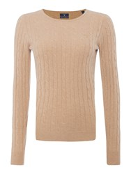 Gant Stretch Wool Cable Crew Neck Jumper Beige