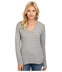 Bcbgeneration Pointelle Hooded Pullover Heather Grey Women's Clothing Gray