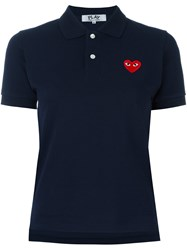 Comme Des Garcons Play Logo Patch Polo Shirt Blue